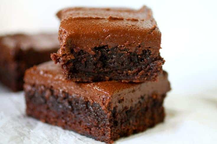 Homemade chewy gooey cocoa brownie