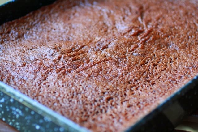 Homemade chewy gooey cocoa brownie in a pan