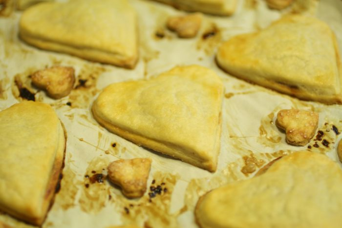 Heart shaped hand pies baked