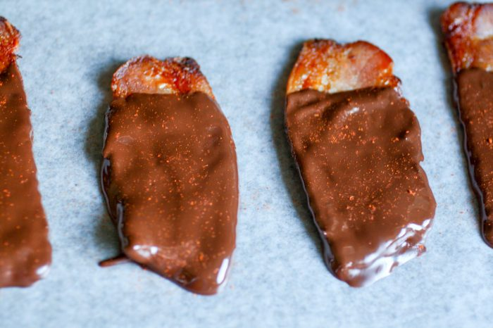 bacon covered in chocolate