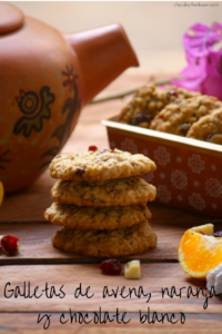Galletas de avena, naranja y chocolate blanco