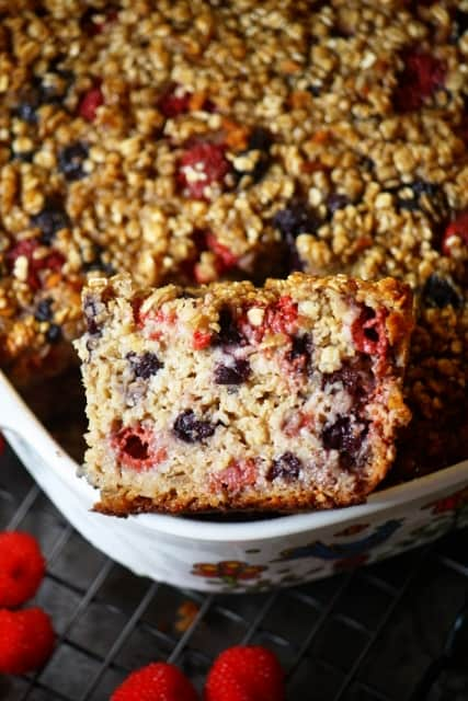 Raspberry-blueberry healthy baked oatmeal