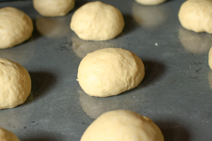 individual roll dough on a tray