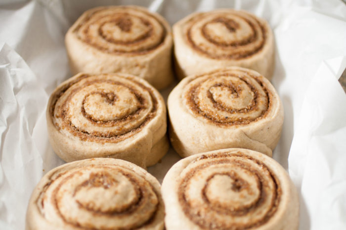 Fluffy Pumpkin Cinnamon Rolls ready for second rising