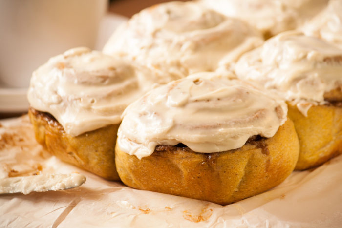 Fluffy Pumpkin Cinnamon Rolls with cream cheese icing