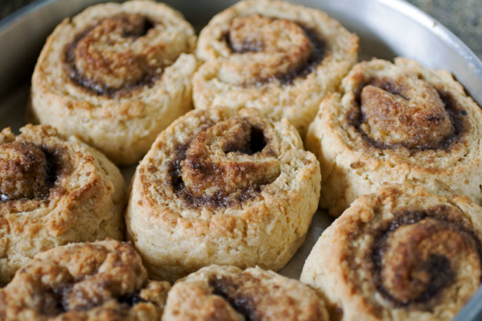 Easy Cinnamon Rolls (No Yeast) baked in a pan