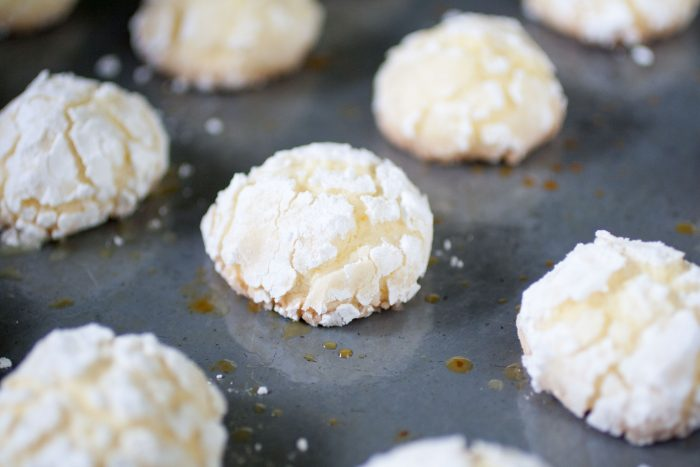 baked Ghreyba (Coconut Moroccan Cookies) on a tray