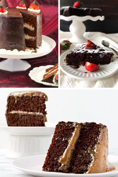 red wine strawberry cake, chocolate semolina cake, salted caramel chocolate cake