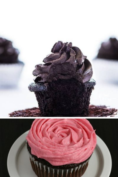 gluten-free chocolate cupcakes and chocolate cupcakes with raspberry frosting