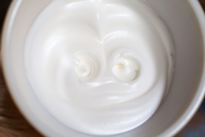 whipped egg white in a bowl