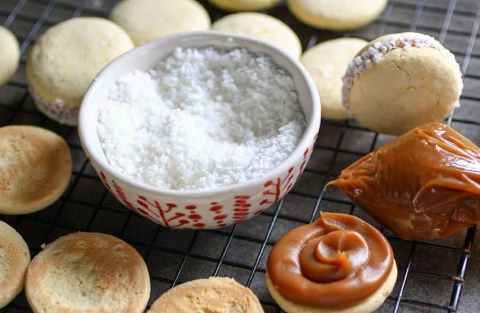 tray with shredded coconut and cookies