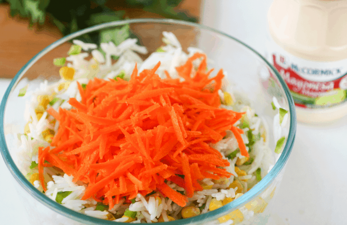 bowl with rice, carrots, mayo on the side
