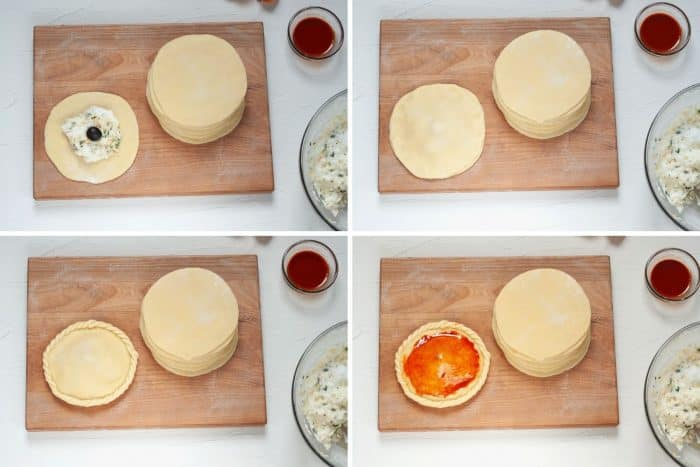 collage of steps on how to fill empanadas