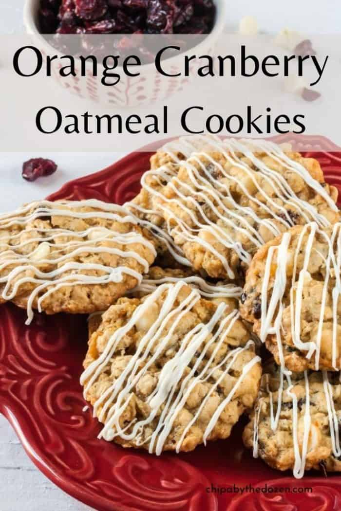orange cranberry oatmeal cookies on a plate