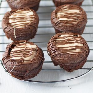 Peanut Butter Brownie Cups on a rack