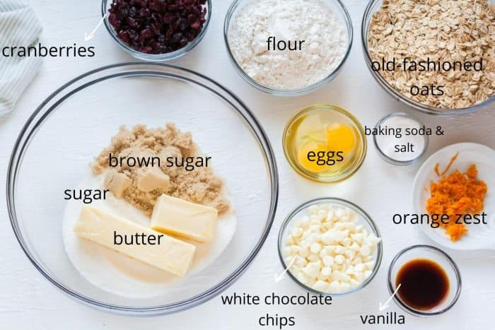 ingredients for cranberry oatmeal cookies