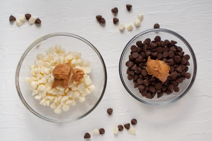 white chocolate with peanut butter, and milk chocolate with peanut butter