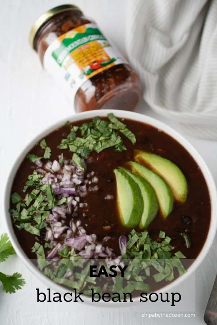 bowl with black bean soup