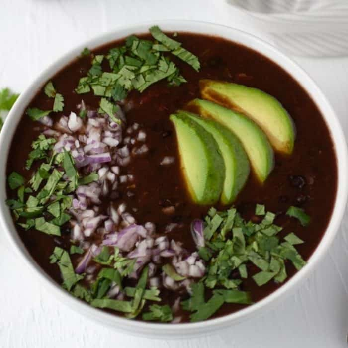 bowl with easy and spicy black bean soup